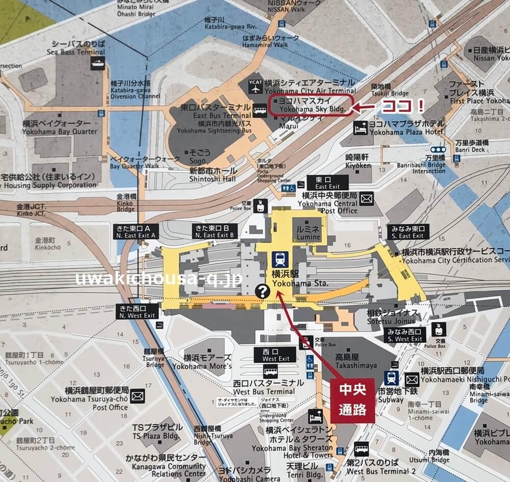 さくら幸子探偵事務所の横浜の地図